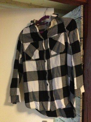 Hennes & Mauritz Camisa de franela blanco-negro Algodón