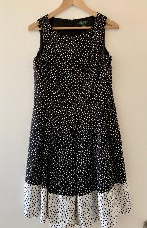 schwarz/weiß gepunktetes Kurzärmeliges Kleid