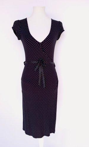 Schwarz Weiß gepunktetes Minikleid Gürtel Wickelkleid Punktmuster Retro Vintage Sommer