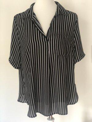 Schwarz weiß gestreifte Bluse Größe XL