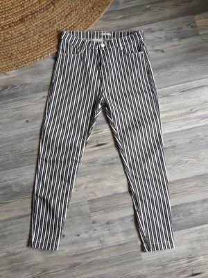 Schwarz weiß gestreifte High Waist Skinny Jeans 7/8 Stretch black white Streifen Schlitze geschlitzt