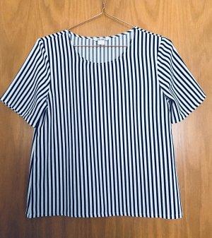 Schwarz-weiß gestreifte, kurzärmelige T-Shirt Bluse