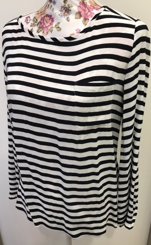 Schwarz weiß gestreifte Lieblingsstück Bluse Longsleeve Shirt 34/36
