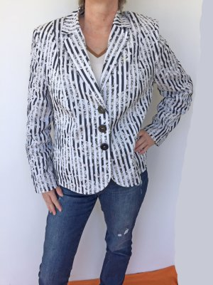 schwarz-weiß gestreifter Blazer von Basler, Größe 46