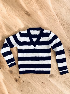 Schwarz weiß gestreifter Pullover/ Sweater v Mötivi V- Neck Gr. 36/S