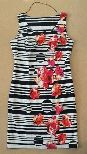 schwarz-weiß gestreiftes Kleid mit Blumenmuster, knieumspielt, ärmellos, Gr. 42