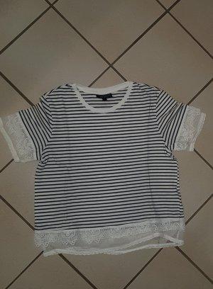 schwarz weiss gestreiftes Kurzarm Tshirt mit Spitze Topshop Größe 34