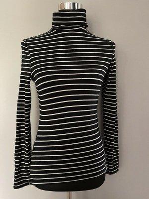 Schwarz/weiß gestreiftes Langarmshirt mit Rollkragen von H&M, Gr. S