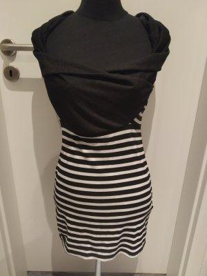 schwarz-weiß gestreiftes Minikleid mit Wasserfall-Kragen - Gr S/M
