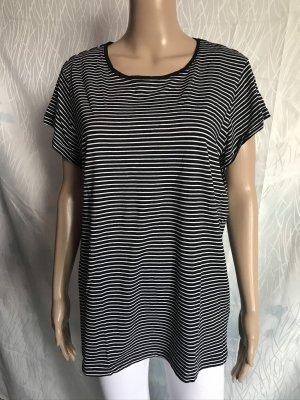 Laura Torelli Stripe Shirt black-white cotton