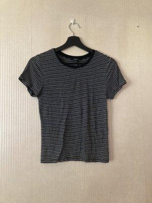 Schwarz weiß gestreiftes T-Shirt 90s Style