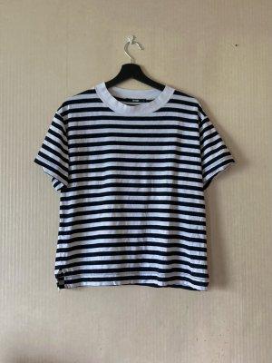 schwarz weiß gestreiftes T-Shirt BikBok