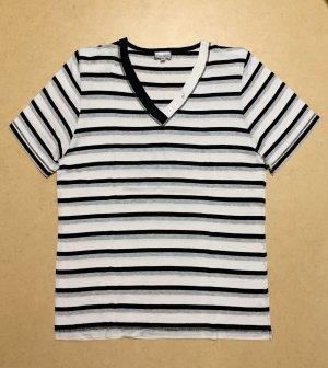Chicc V-hals shirt wit-zwart