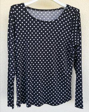 schwarz-weiß getupftes Langarmshirt aus Seiden-Viskose-Mischung