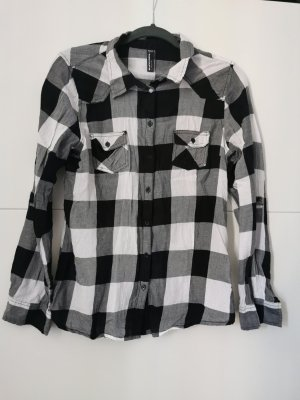 Blind Date Checked Blouse white-black