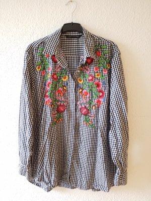 schwarz weiß karierte Bluse Hemdbluse mit Blumenstickerei