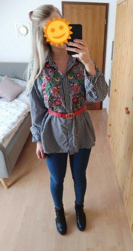 schwarz weiß karierte Bluse Hemdbluse mit Blumenstickerei von Zara. Wie NEU!