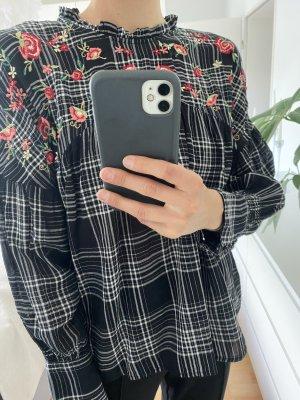 Schwarz weiß karierte Bluse mit Blumen