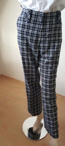 Schwarz weiß karierte Hose Stretch vintage in 42 gerade geschnitten
