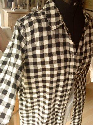 schwarz weiß karierte Longbluse Größe 38