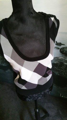 schwarz-weiß Pullunder mit tiefem Ausschnitt