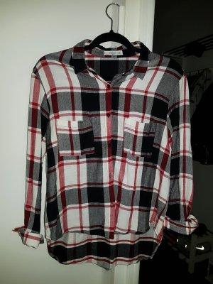 schwarz weiß rotes kariertes Hemd, Mango, S/36