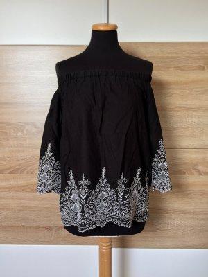 Schwarz weiß Stickerei offshoulder Bluse von Zara, Gr. S (NEUw.)