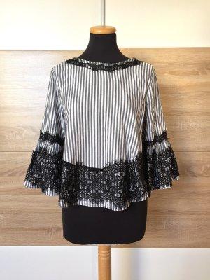 Schwarz weiß Streifen Stickerei Bluse von Zara, Gr. M (NEUw.)
