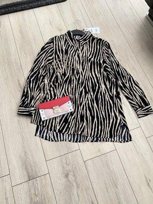 Schwarz/ weiße Hemd Bluse mit Animalprint  von Zara Gr. S
