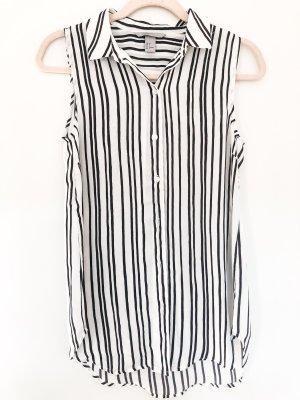 Schwarz Weiße Kurzarm-Bluse