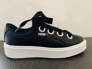 Schwarz weiße Sneaker Puma Ledersneaker Silber Plateausneaker