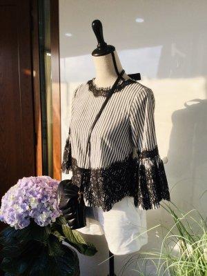 Schwarz weiße Spitzen Bluse von Zara gestreift