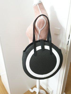 H&M Bolso tipo cesta blanco-negro