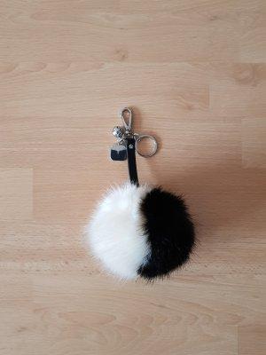 schwarz, weißer Bommel, Taschenanhänger