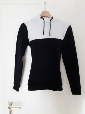 Capuchon sweater wit-zwart Katoen