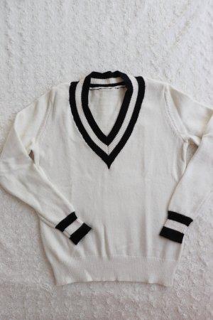 Schwarz-weißer Vintage Pullover