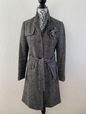 E.B. Company Abrigo de lana negro-blanco puro