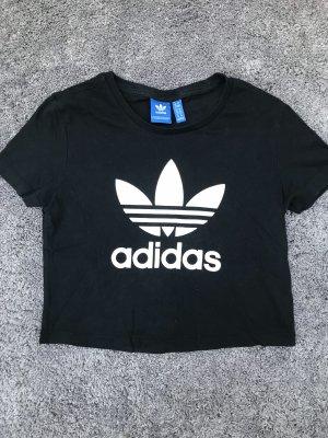 Schwarz weißes Adidas Crop Top T-Shirt