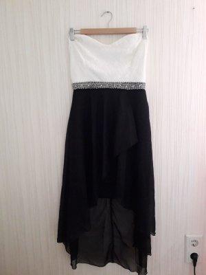 schwarz weißes asymmetrisches Abendkleid neu