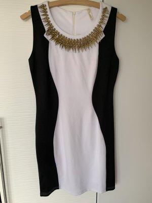 Schwarz weißes Kleid mit Goldenen Applikationen