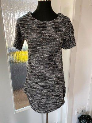 Voyelles Vestido a media pierna negro-color plata tejido mezclado