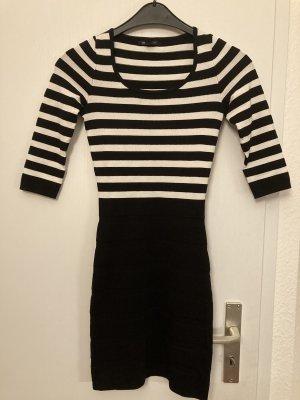 Mango Sukienka z długim rękawem czarny-biały