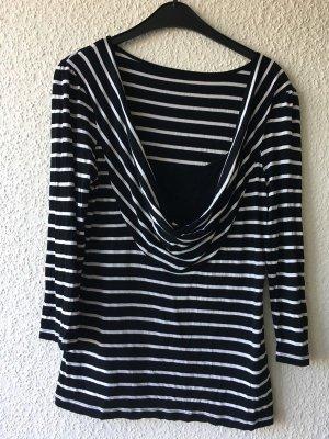 Koszulka z dekoltem woda czarny-biały Wiskoza
