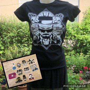 Schwarz weißes neues Walter White Breaking Bad Shirt S mit Stickern
