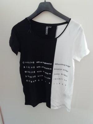 Schwarz/Weißes T-Shirt mit Schrift Gr. 32/34-Neu-Rainbow