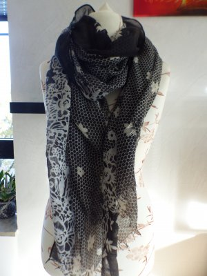 schwarz weißes Tuch / Schal
