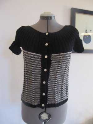 Vintage Short Sleeve Knitted Jacket black-white cotton