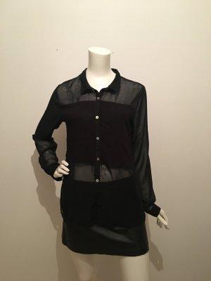 Schwarz zum Teil transparent edel elegant angenehm lang gerade Perlmutt Knöpfe zierknöpfe Bluse Hemd Oberteil Shirt top Kontrast