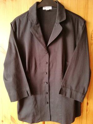 Schwarze 3/4 Arm Bluse aus elastischem Baumwollsatin von Peter Hahn