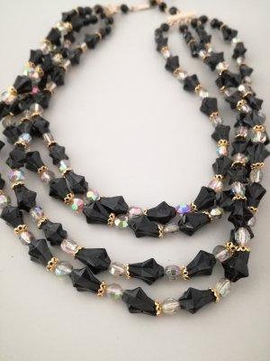 Vintage Naszyjnik z perłami czarno-brązowy-złoto